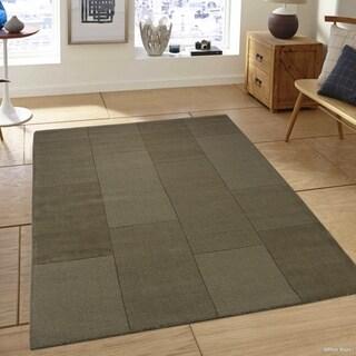 Allstar Olive Wool Ultra Soft Modern Solid Textured Rug (5' X 7')