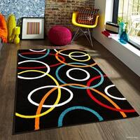 "Allstar Woven Modern Abstract Circle Link Design Rug - 5' X 6' 11"""