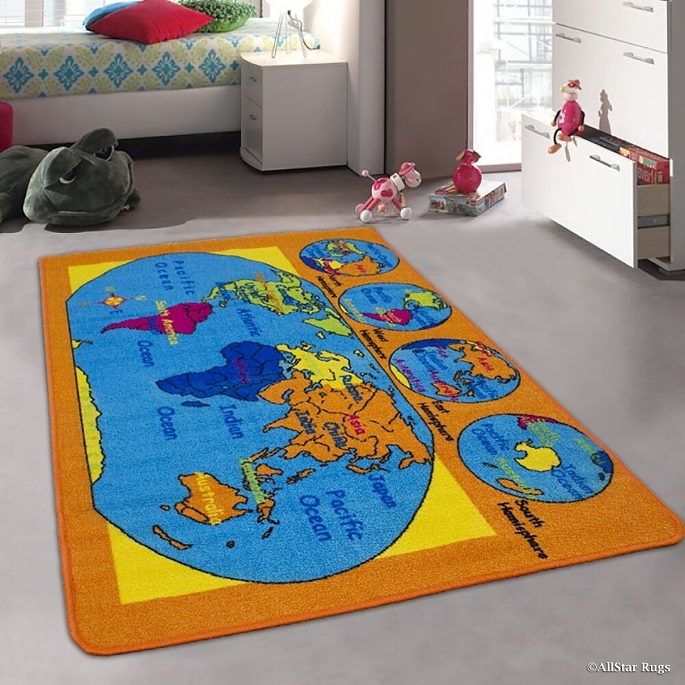 """Kids World Map Usa Map Continents Rug (4' 11"""" X 6' 11""""), ..."""