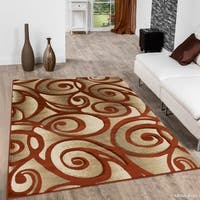 Allstar Rust Woven Modern Evolution Swirl Design Rug