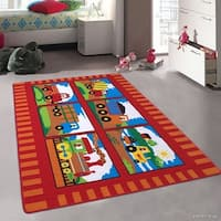"""Allstar Kids Trucks And Trains Colorful Vibrant Colors Rug - 4' 11"""" X 6' 11"""""""