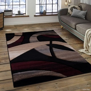 "Allstar Black Modern Carved Circle Shape Rug (5' 2"" X 7' 2"")"