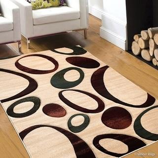 "Allstar Modern Carved Circle Distressed Design Rug (5' 2"" X 7' 2"")"