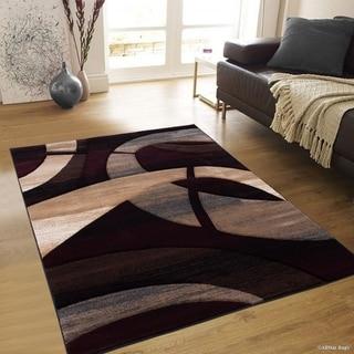 """Allstar Burgundy Modern Carved Circle Shape Rug (5' 2"""" X 7' 2"""")"""
