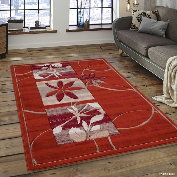 Surprising Shop Allstar Rust Distressed Floral Design Contemporary Rug Ocoug Best Dining Table And Chair Ideas Images Ocougorg