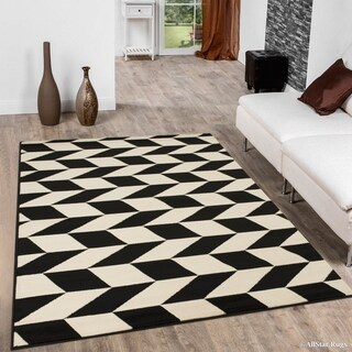 Black Modern Abstract Diamond Design Area Rug (5'2 x 7'2)
