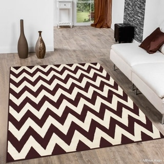 Burgundy Woven Chevron Pattern Modern Area Rug (5'2 x 7'2)