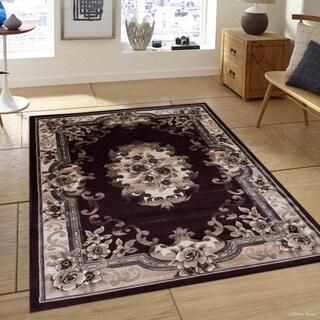 Traditional Burgundy Modern Vintage Woven Persian Design Rug (5'2 x 7'2)