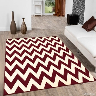Red Woven Modern Chevron Design Area Rug (5'2 x 7'2)