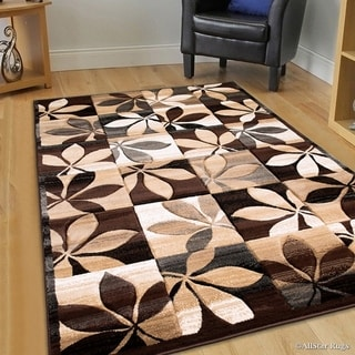 Chocolate Modern Floral Design Area Rug (5'2 x 7'2)