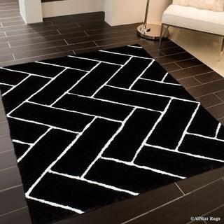 Black/White 3D Design Geometric Modern Area Rug (5' x 7')