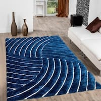 Allstar Cobalt Modern 3D Formal Thick Striped Rug - 5' X 7'