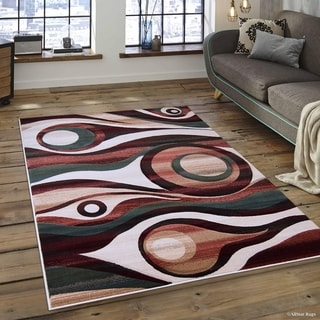 Transitional Distressed Carved Circle Design Rug (5'2 x 7'2)