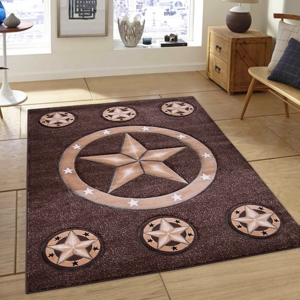 Allstar Chocolate Modern Pentagram Design Rug