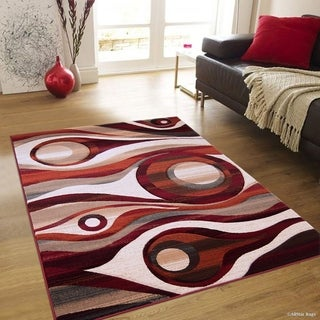 Rust Transitional Distressed Carved Circle Design Rug (5'2 x 7'2)