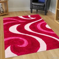 Allstar Pink Modern Soft 3D Swirl Design Rug (5' X 7')