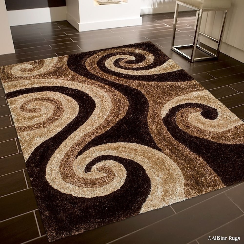 Cocoa (Brown) Modern Soft 3D Spiral Design Area Rug (5' x...