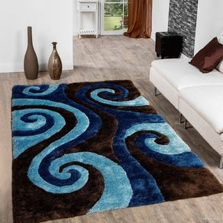 3-D Spiral Blue/ Chocolate Brown Area Rug (5'x7')
