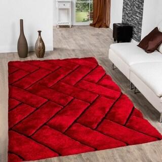 Red Modern 3D Design Area Rug (5'x7')