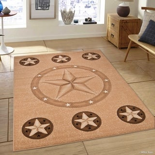Beige Modern Star Design Area Rug (5'2 x 7'2)