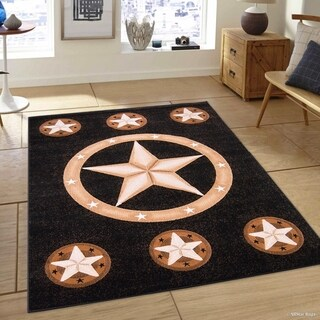 Black Modern Star Design Area Rug (5'2 x 7'2)