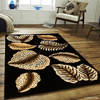 Black High Density Exotic Animal Skin Themed Leaves Rug (5'2 x 7'2)