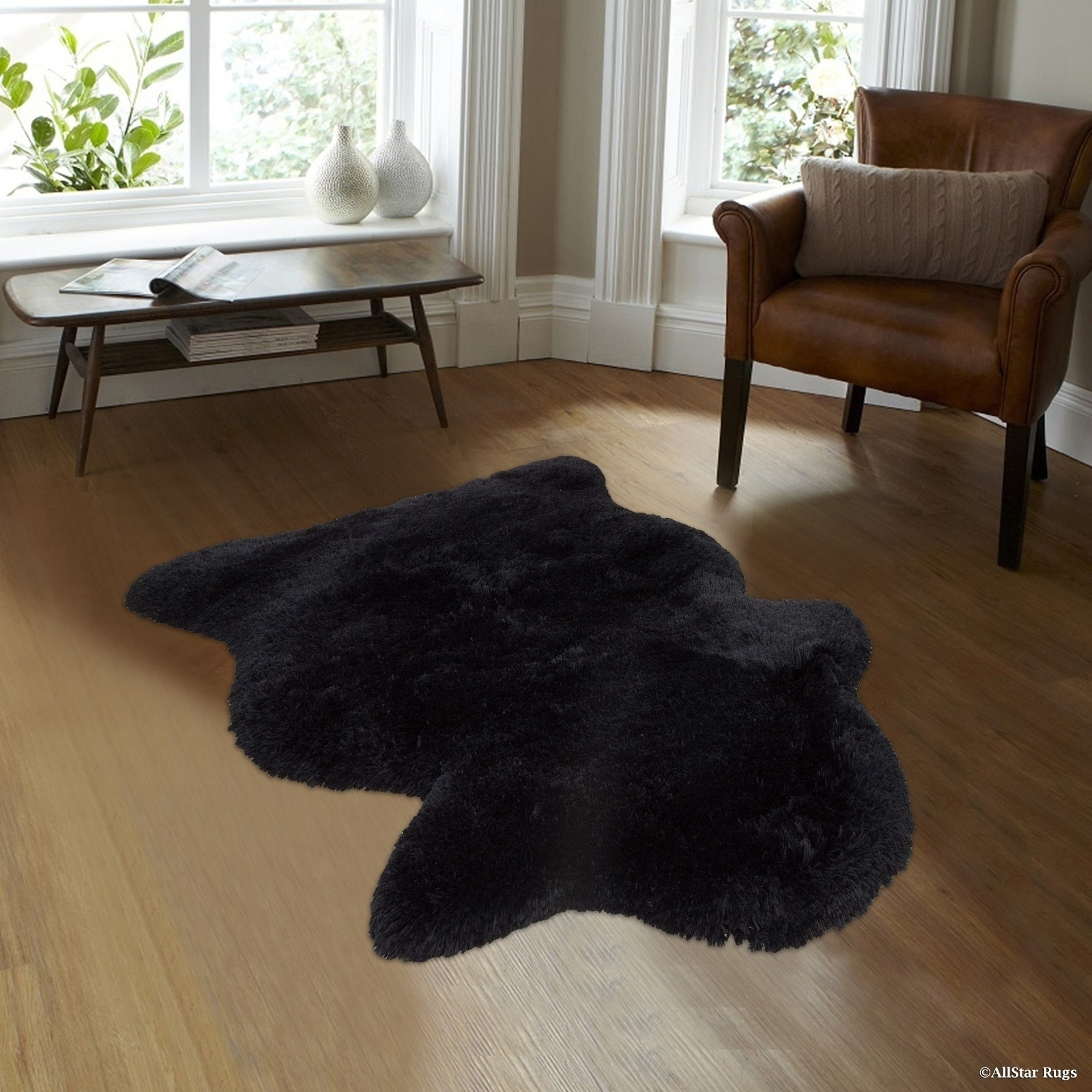 Black Faux Sheep Non-shedding Soft Solid Shaggy Polar Bea...