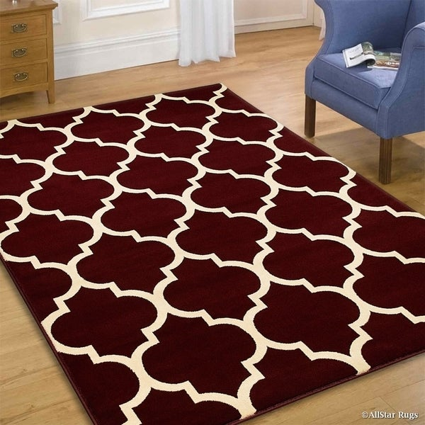 Shop Allstar Burgundy Wool-Touch Woven Moroccan Rug (5' 1