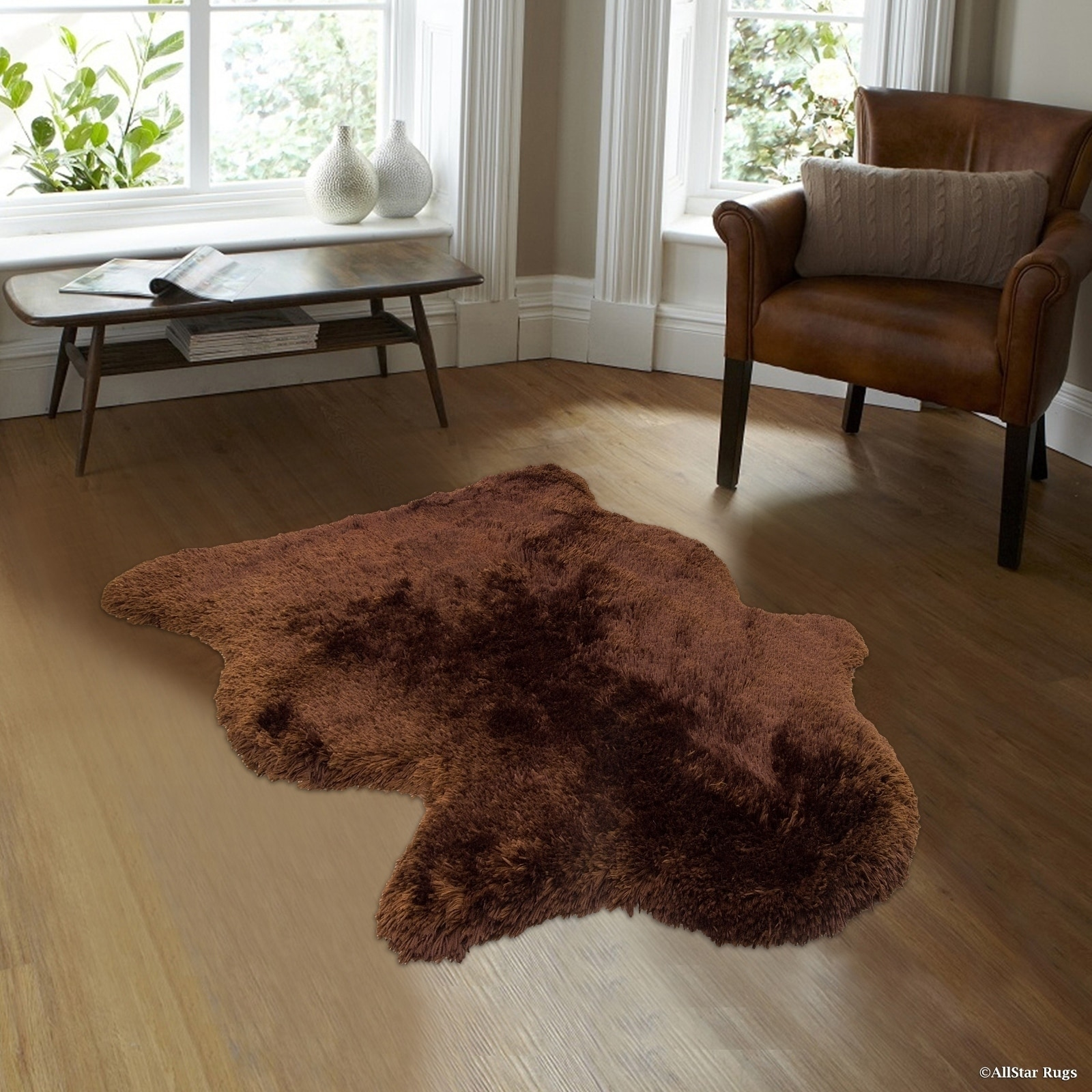 Polar Bear Chocolate Sheepskin Non-shedding Shag Rug (4'1...