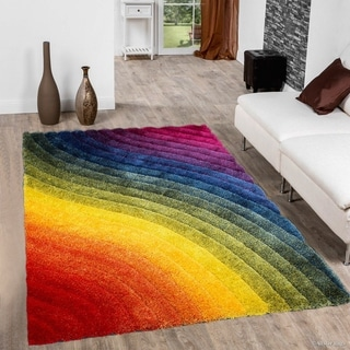 Rainbow-colored 3D Wavy Design Abstract Plush Area Rug (5' x 7')
