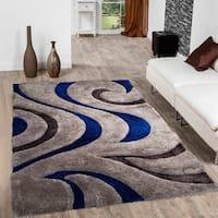 Allstar Blue Modern Soft 3D Swirl Design Rug - 5' X 7'