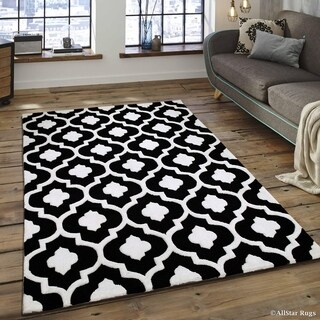Black Transitional Moroccan Design Modern Area Rug (4'11 x 6'11)