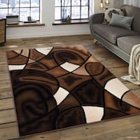 Allstar Chocolate Exclusive Modern Linear Design Rug - 5' X 6' 11""