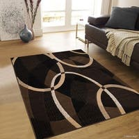 Allstar Chocolate Exclusive Transitional Linear Design Rug - 5' X 6' 11""