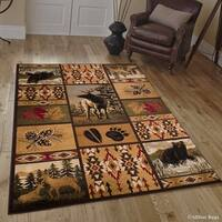 Allstar Brown/ Burgundy Rustic Lodge Assorted Collection Rug