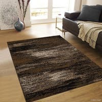 "Allstar Chocolate Exclusive Modern Brush Streak Design Rug (5' X 6' 11"")"
