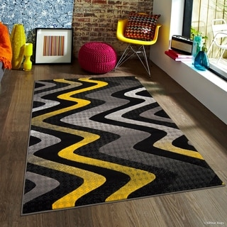 "Allstar Yellow Modern Distressed Wavy Linear Design Rug (5' X 6' 11"")"