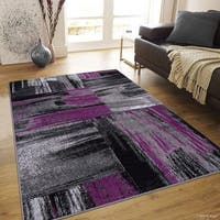 Allstar Purple Exclusive Modern Brush Streak Design Rug - 5' X 6' 11""