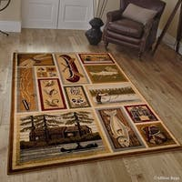 Allstar Brown/ Green Rustic Lodge Assorted Collection Rug