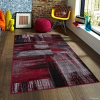 Allstar Red Exclusive Modern Brush Streak Design Rug
