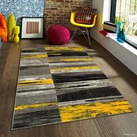 "Allstar Yellow Modern Distressed Design Rug (5' X 6' 11"")"