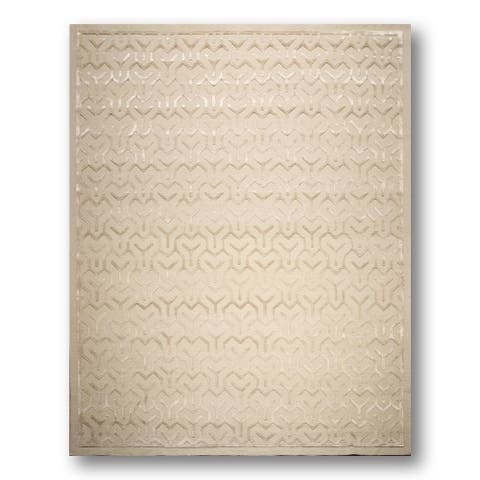 Beige Wool/ Silk Tibetan Shabby Chic Hand-knotted Area Rug (9'x12') - 9' x 12'