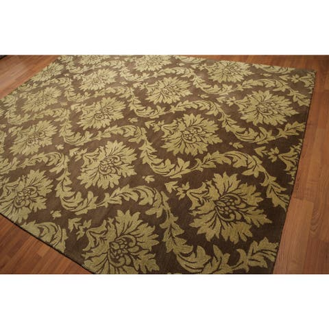 Persian Oriental Damask Brown/ Mustard Handmade Area Rug (8' x 11') - 8' x 11'