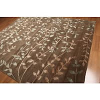 Floral Transitional Indo Tibetan Blue Wool and Silk Area Rug - 8' x 10'