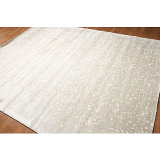 Grey Wool/ Rayon from Bamboo Casual Shabby-chic Area Rug (8' x 10')