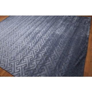Modern Turkish Tone-on-tone Blue Area Rug (9' x 12')