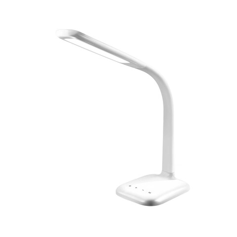 INNOKA White Gooseneck Free Angle Rotation Desk Lamp with USB Charging Port and 5 Dimming Levels