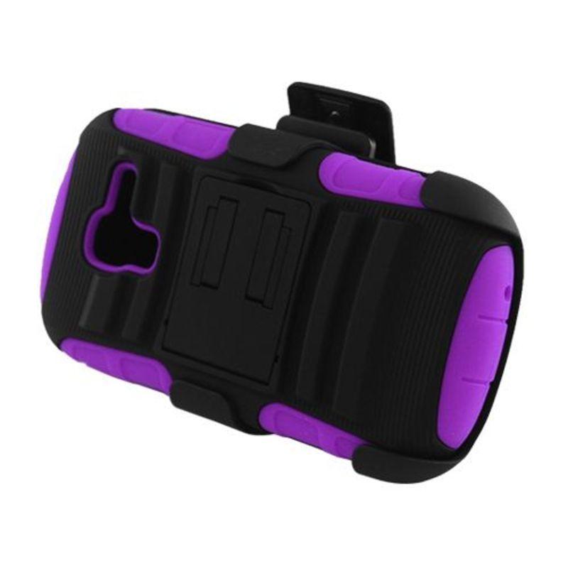 Insten Black/ Purple Advanced Armor Hard PC/ Silicone Dua...