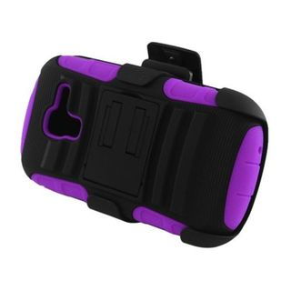 Insten Black/ Purple Advanced Armor Hard PC/ Silicone Dual Layer Hybrid Case Cover with Stand For Samsung Galaxy Exhibit T599