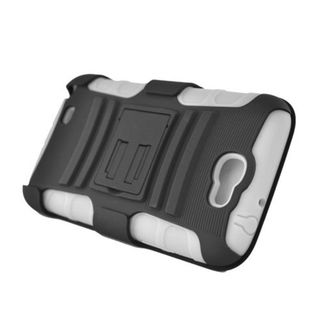 Insten Black/ White Advanced Armor Hard PC/ Silicone Dual Layer Hybrid Case Cover with Stand/ Holster For Samsung Galaxy Note II